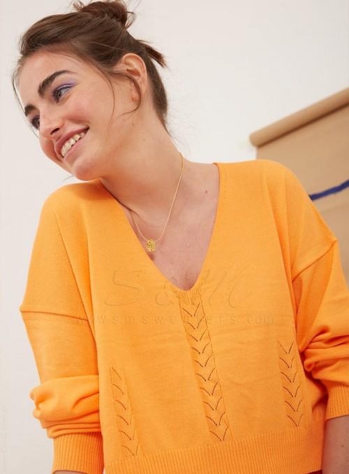 Sweater liso escote en V